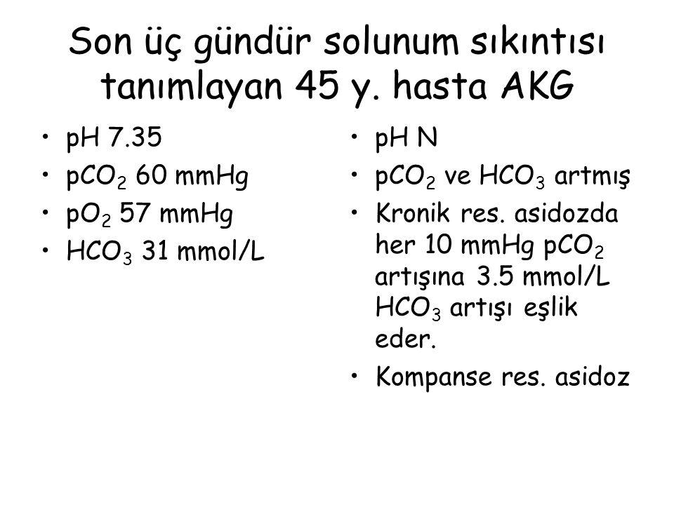pH 7.08 pO 2 100 mmHg pCO 2 19 mmHg HCO 3 9 mmol/L Baz fazlalığı -21.5 mmol/L Anyon açığı 32.2 Glukoz 38 mg/dL Laktat 17.3 mmol/L Kc.