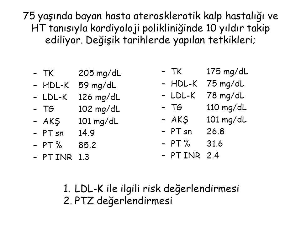 5 yaşında erkek hasta –PT sn67.7 –PT %10.7 –PT INR7.2 –aPTT sn72.2 –Finrinojen326 mg/L