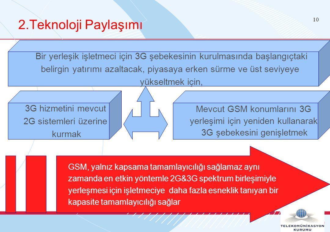 10 2.Teknoloji Paylaşımı Bir yerleşik işletmeci için 3G şebekesinin kurulmasında başlangıçtaki belirgin yatırımı azaltacak, piyasaya erken sürme ve üst seviyeye yükseltmek için, 3G hizmetini mevcut 2G sistemleri üzerine kurmak Mevcut GSM konumlarını 3G yerleşimi için yeniden kullanarak 3G şebekesini genişletmek GSM, yalnız kapsama tamamlayıcılığı sağlamaz aynı zamanda en etkin yöntemle 2G&3G spektrum birleşimiyle yerleşmesi için işletmeciye daha fazla esneklik tanıyan bir kapasite tamamlayıcılığı sağlar