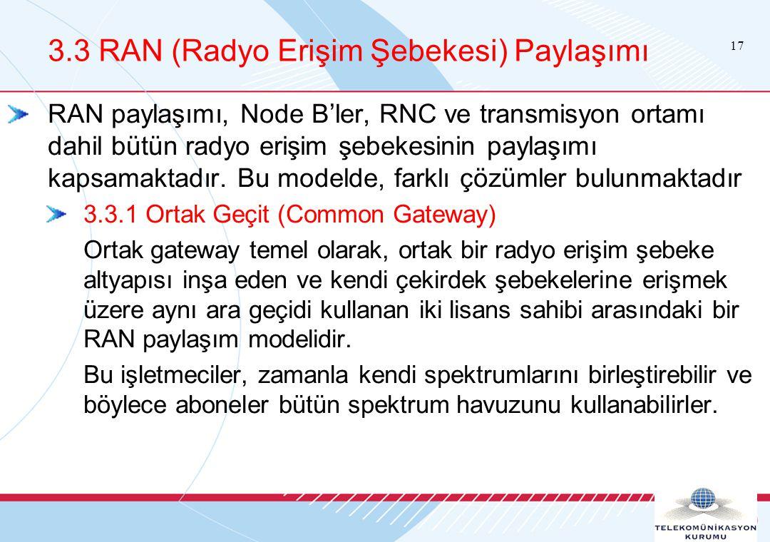17 3.3 RAN (Radyo Erişim Şebekesi) Paylaşımı RAN paylaşımı, Node B'ler, RNC ve transmisyon ortamı dahil bütün radyo erişim şebekesinin paylaşımı kapsamaktadır.