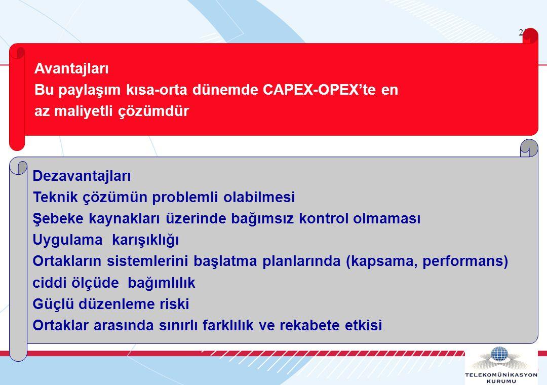 23 Avantajları Bu paylaşım kısa-orta dünemde CAPEX-OPEX'te en az maliyetli çözümdür Dezavantajları Teknik çözümün problemli olabilmesi Şebeke kaynakları üzerinde bağımsız kontrol olmaması Uygulama karışıklığı Ortakların sistemlerini başlatma planlarında (kapsama, performans) ciddi ölçüde bağımlılık Güçlü düzenleme riski Ortaklar arasında sınırlı farklılık ve rekabete etkisi