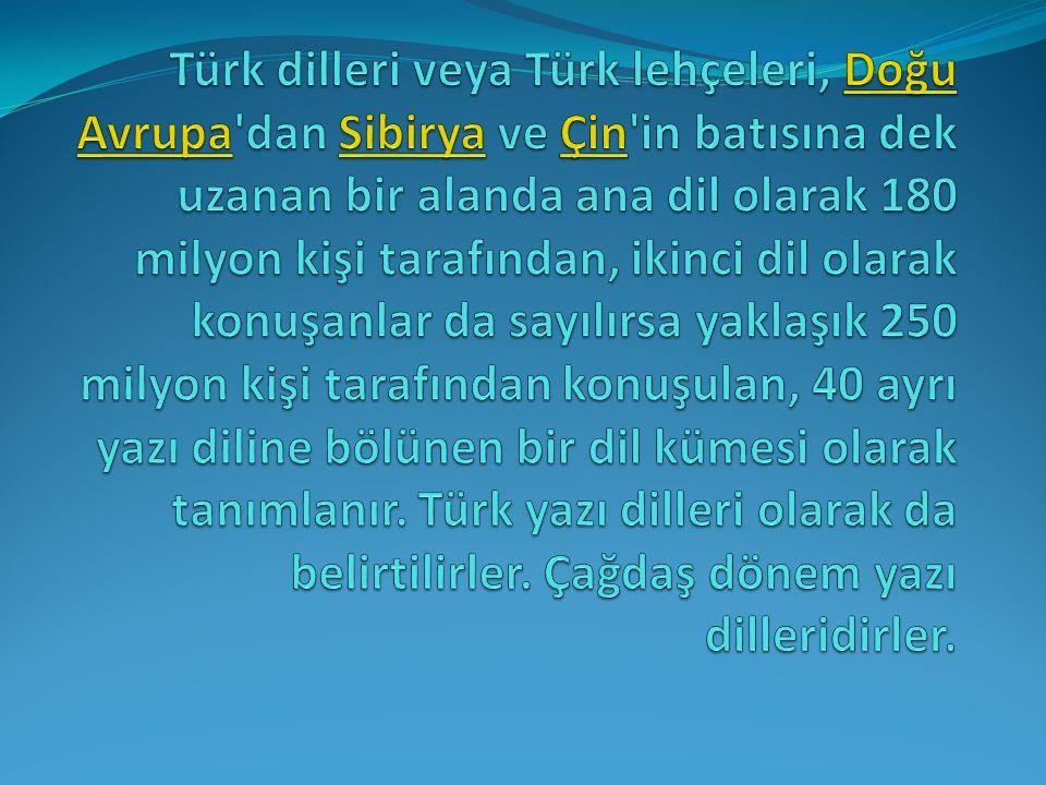 Türk dilleri Altay dilleri ailesine aittir.En çok konuşulan Türk dili, Türkiye Türkçesidir.