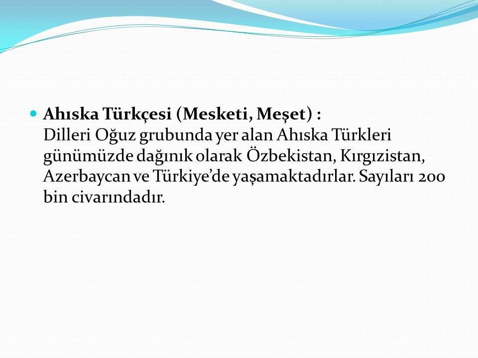 Ahıska Türkçesi (Mesketi, Meşet) : Dilleri Oğuz grubunda yer alan Ahıska Türkleri günümüzde dağınık olarak Özbekistan, Kırgızistan, Azerbaycan ve Türk