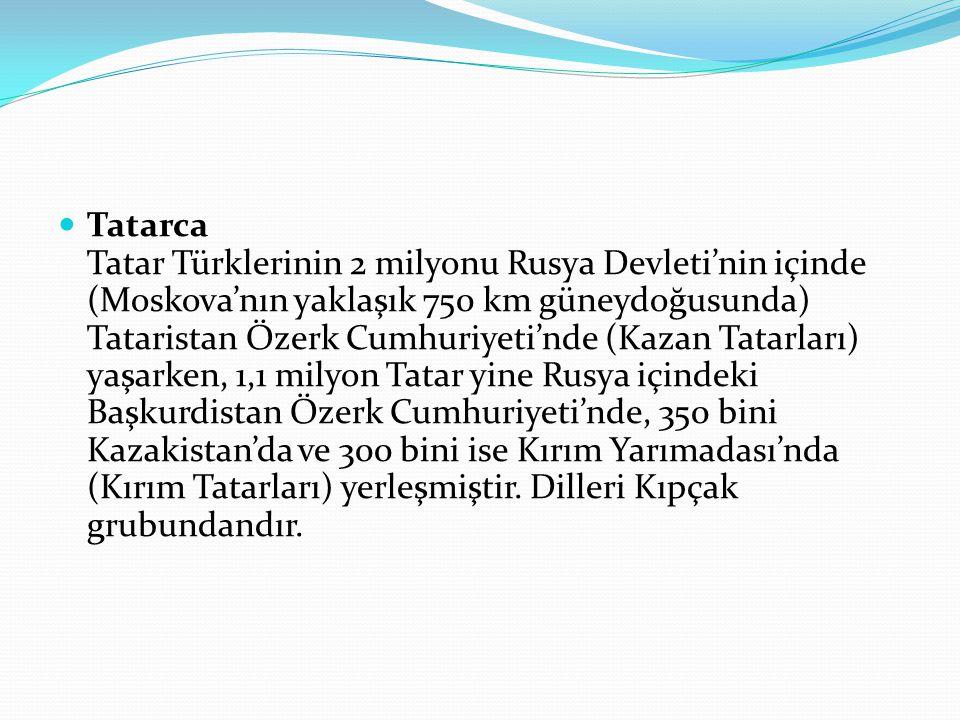 Tatarca Tatar Türklerinin 2 milyonu Rusya Devleti'nin içinde (Moskova'nın yaklaşık 750 km güneydoğusunda) Tataristan Özerk Cumhuriyeti'nde (Kazan Tata