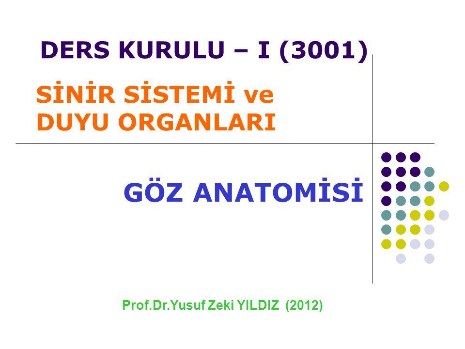 Prof.Dr.Yusuf Zeki YILDIZ (2012) GÖZ ANATOMİSİ SİNİR SİSTEMİ ve DUYU ORGANLARI DERS KURULU – I (3001)