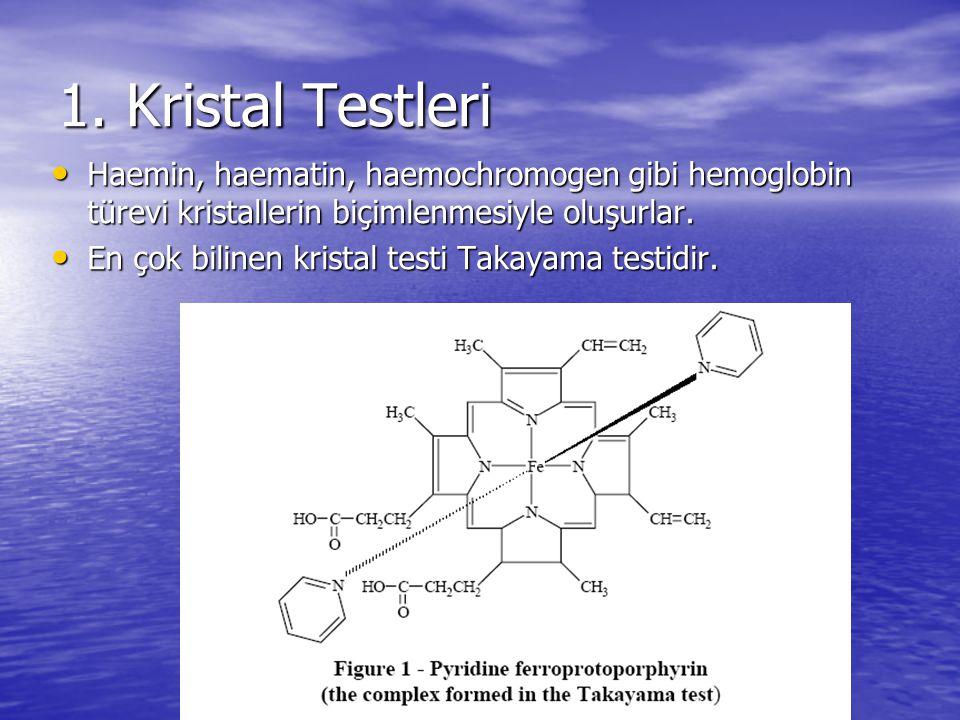 1. Kristal Testleri Haemin, haematin, haemochromogen gibi hemoglobin türevi kristallerin biçimlenmesiyle oluşurlar. Haemin, haematin, haemochromogen g