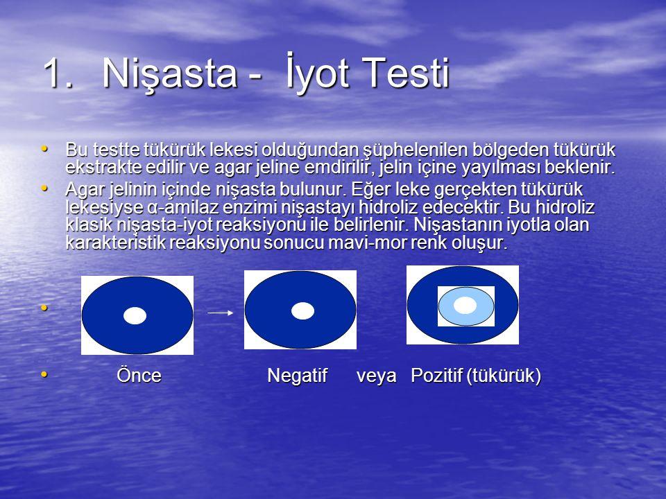 1.Nişasta - İyot Testi Bu testte tükürük lekesi olduğundan şüphelenilen bölgeden tükürük ekstrakte edilir ve agar jeline emdirilir, jelin içine yayılması beklenir.