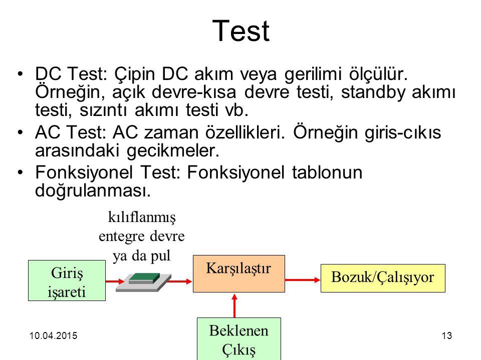 10.04.201513 Test DC Test: Çipin DC akım veya gerilimi ölçülür. Örneğin, açık devre-kısa devre testi, standby akımı testi, sızıntı akımı testi vb. AC