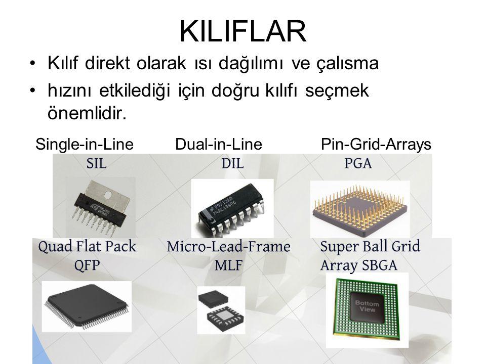 KILIFLAR Kılıf direkt olarak ısı dağılımı ve çalısma hızını etkilediği için doğru kılıfı seçmek önemlidir. Single-in-Line Dual-in-Line Pin-Grid-Arrays