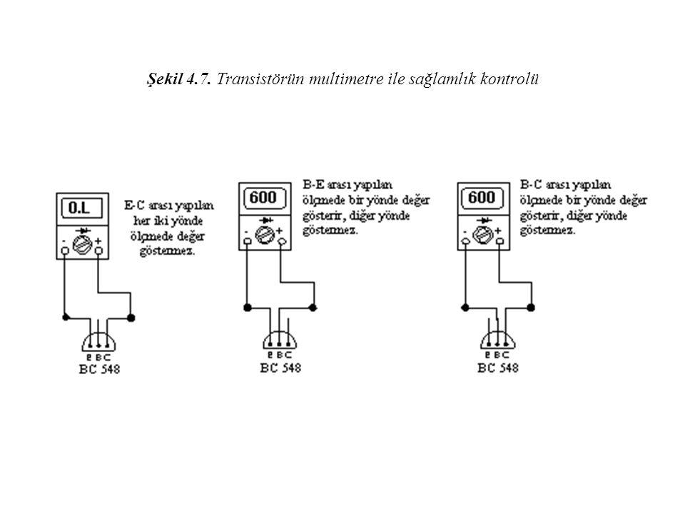 Şekil 4.7. Transistörün multimetre ile sağlamlık kontrolü