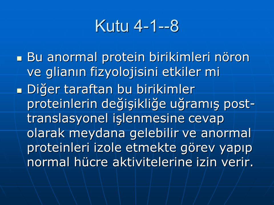 Kutu 4-1--8 Bu anormal protein birikimleri nöron ve glianın fizyolojisini etkiler mi Bu anormal protein birikimleri nöron ve glianın fizyolojisini etk