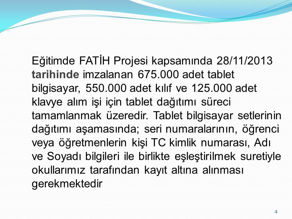 4 Eğitimde FATİH Projesi kapsamında 28/11/2013 tarihinde imzalanan 675.000 adet tablet bilgisayar, 550.000 adet kılıf ve 125.000 adet klavye alım işi