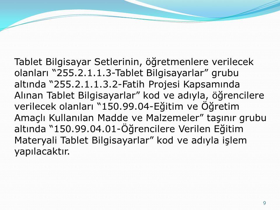"""9 Tablet Bilgisayar Setlerinin, öğretmenlere verilecek olanları """"255.2.1.1.3-Tablet Bilgisayarlar"""" grubu altında """"255.2.1.1.3.2-Fatih Projesi Kapsamın"""