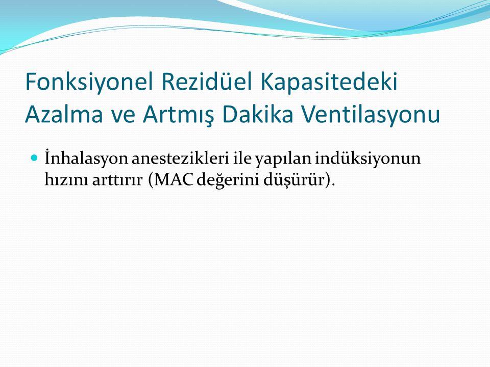 Fonksiyonel Rezidüel Kapasitedeki Azalma ve Artmış Dakika Ventilasyonu İnhalasyon anestezikleri ile yapılan indüksiyonun hızını arttırır (MAC değerini