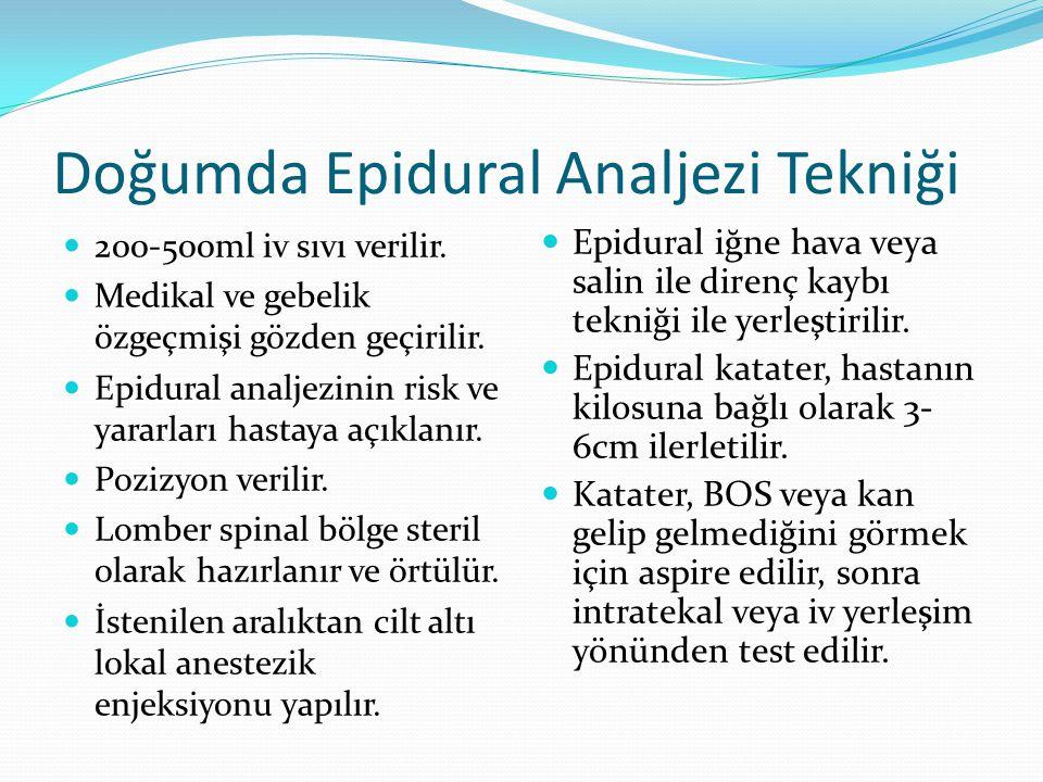 Doğumda Epidural Analjezi Tekniği 200-500ml iv sıvı verilir. Medikal ve gebelik özgeçmişi gözden geçirilir. Epidural analjezinin risk ve yararları has