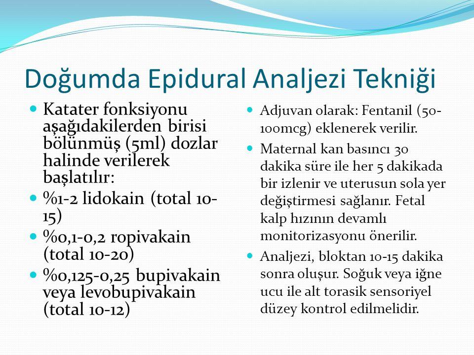 Doğumda Epidural Analjezi Tekniği Katater fonksiyonu aşağıdakilerden birisi bölünmüş (5ml) dozlar halinde verilerek başlatılır: %1-2 lidokain (total 1