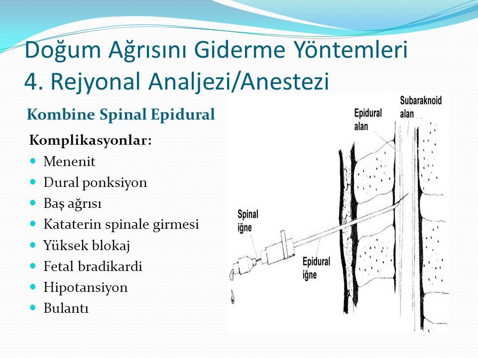 Doğum Ağrısını Giderme Yöntemleri 4. Rejyonal Analjezi/Anestezi Kombine Spinal Epidural Komplikasyonlar: Menenit Dural ponksiyon Baş ağrısı Kataterin