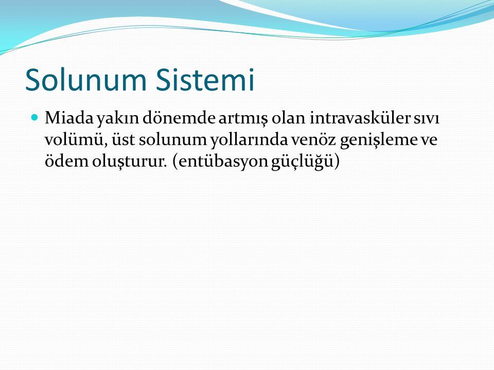 Solunum Sistemi Miada yakın dönemde artmış olan intravasküler sıvı volümü, üst solunum yollarında venöz genişleme ve ödem oluşturur. (entübasyon güçlü