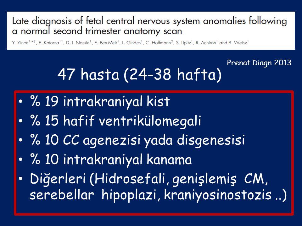 % 19 intrakraniyal kist % 15 hafif ventrikülomegali % 10 CC agenezisi yada disgenesisi % 10 intrakraniyal kanama Diğerleri (Hidrosefali, genişlemiş CM