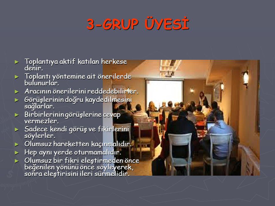3-GRUP ÜYESİ ► Toplantıya aktif katılan herkese denir. ► Toplantı yöntemine ait önerilerde bulunurlar. ► Aracının önerilerini reddedebilirler. ► Görüş