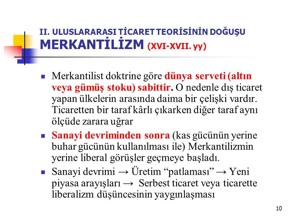 10 II. ULUSLARARASI TİCARET TEORİSİNİN DOĞUŞU MERKANTİLİZM (XVI-XVII. yy) Merkantilist doktrine göre dünya serveti (altın veya gümüş stoku) sabittir.