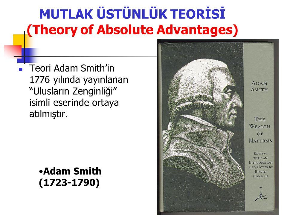 MUTLAK ÜSTÜNLÜK TEORİSİ (Theory of Absolute Advantages) Teori Adam Smith'in 1776 yılında yayınlanan Ulusların Zenginliği isimli eserinde ortaya atılmıştır.