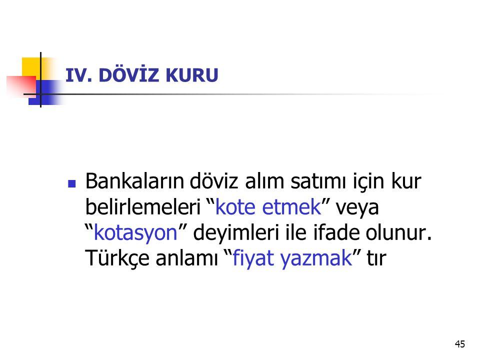"""45 IV. DÖVİZ KURU Bankaların döviz alım satımı için kur belirlemeleri """"kote etmek"""" veya """"kotasyon"""" deyimleri ile ifade olunur. Türkçe anlamı """"fiyat ya"""