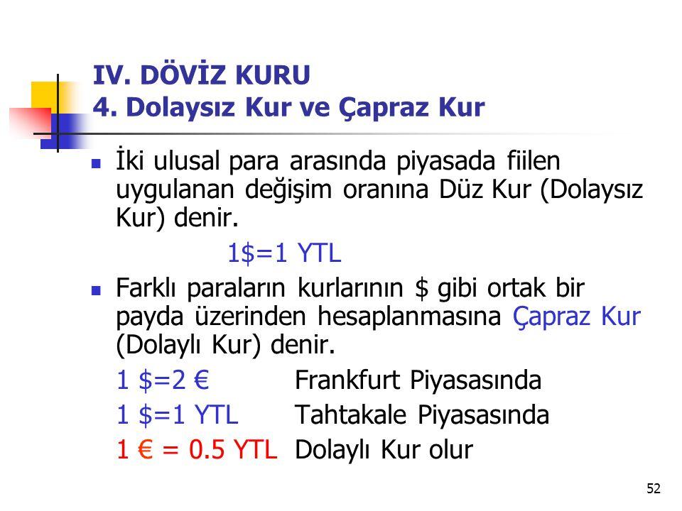 52 IV. DÖVİZ KURU 4. Dolaysız Kur ve Çapraz Kur İki ulusal para arasında piyasada fiilen uygulanan değişim oranına Düz Kur (Dolaysız Kur) denir. 1$=1
