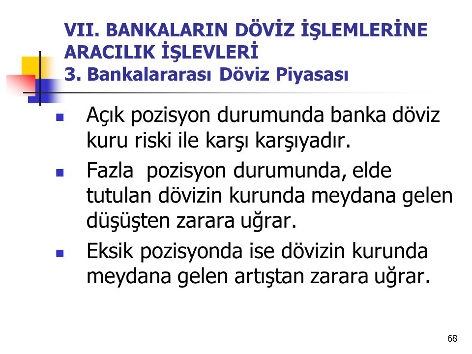 68 VII. BANKALARIN DÖVİZ İŞLEMLERİNE ARACILIK İŞLEVLERİ 3. Bankalararası Döviz Piyasası Açık pozisyon durumunda banka döviz kuru riski ile karşı karşı