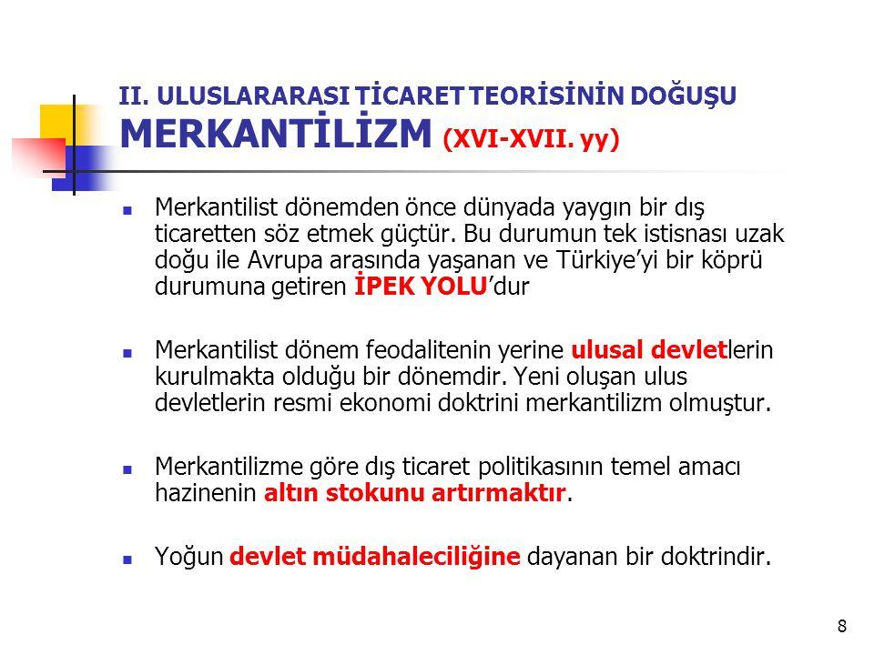 8 II.ULUSLARARASI TİCARET TEORİSİNİN DOĞUŞU MERKANTİLİZM (XVI-XVII.