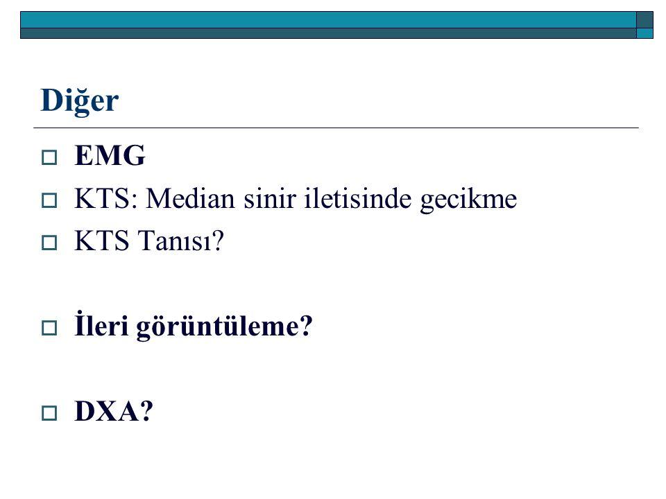 Diğer  EMG  KTS: Median sinir iletisinde gecikme  KTS Tanısı?  İleri görüntüleme?  DXA?