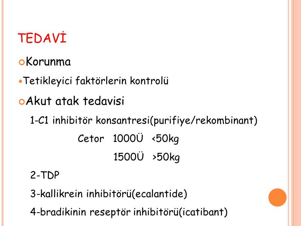 TEDAVİ Korunma Tetikleyici faktörlerin kontrolü Akut atak tedavisi 1-C1 inhibitör konsantresi(purifiye/rekombinant) Cetor 1000Ü <50kg 1500Ü >50kg 2-TD