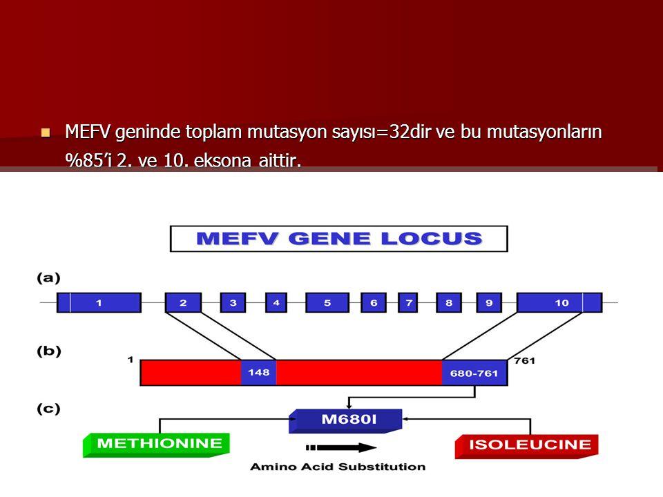 MEFV geninde toplam mutasyon sayısı=32dir ve bu mutasyonların %85'i 2. ve 10. eksona aittir. MEFV geninde toplam mutasyon sayısı=32dir ve bu mutasyonl