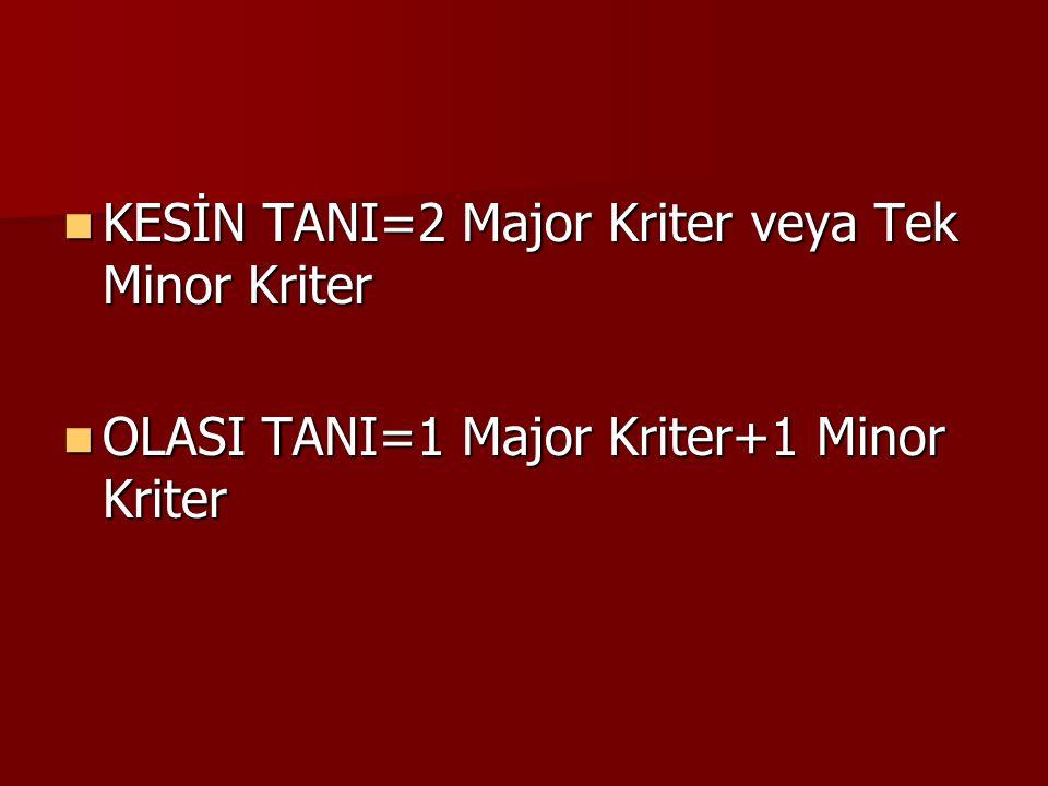 KESİN TANI=2 Major Kriter veya Tek Minor Kriter KESİN TANI=2 Major Kriter veya Tek Minor Kriter OLASI TANI=1 Major Kriter+1 Minor Kriter OLASI TANI=1