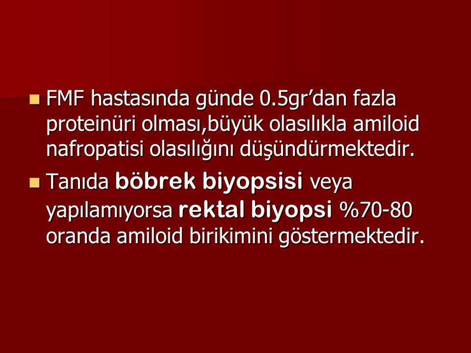 FMF hastasında günde 0.5gr'dan fazla proteinüri olması,büyük olasılıkla amiloid nafropatisi olasılığını düşündürmektedir. FMF hastasında günde 0.5gr'd