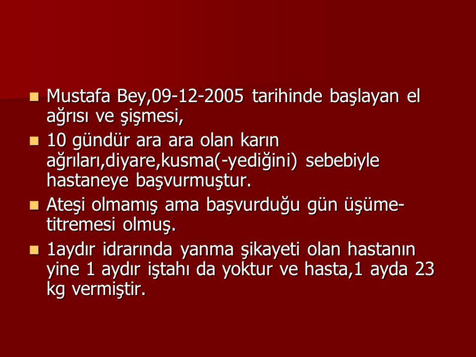Mustafa Bey,09-12-2005 tarihinde başlayan el ağrısı ve şişmesi, Mustafa Bey,09-12-2005 tarihinde başlayan el ağrısı ve şişmesi, 10 gündür ara ara olan