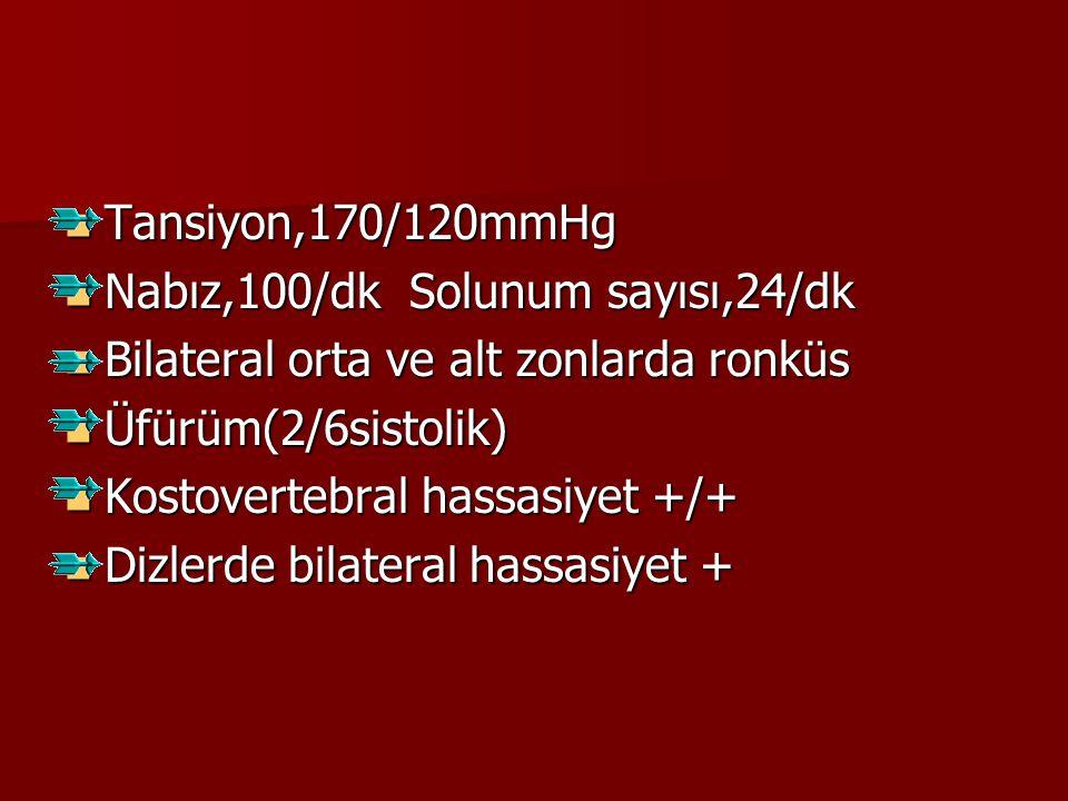 Tansiyon,170/120mmHg Tansiyon,170/120mmHg Nabız,100/dk Solunum sayısı,24/dk Nabız,100/dk Solunum sayısı,24/dk Bilateral orta ve alt zonlarda ronküs Bi