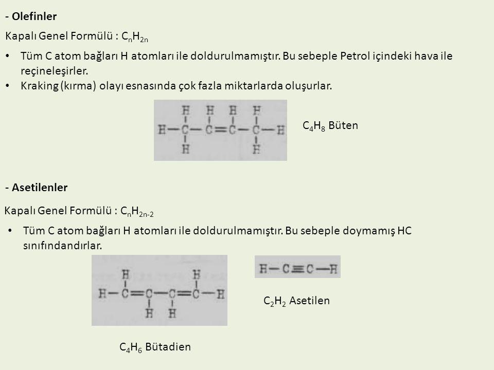 - Olefinler Kapalı Genel Formülü : C n H 2n Tüm C atom bağları H atomları ile doldurulmamıştır. Bu sebeple Petrol içindeki hava ile reçineleşirler. Kr