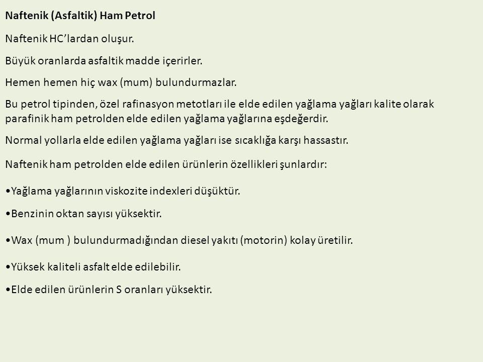 Naftenik (Asfaltik) Ham Petrol Naftenik HC'lardan oluşur.