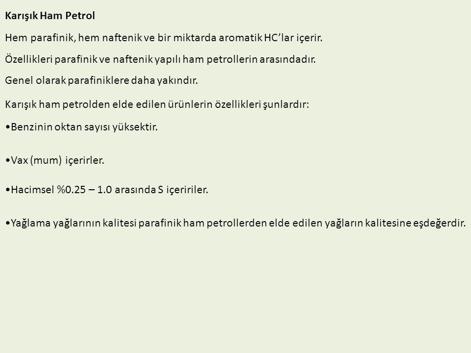 Karışık Ham Petrol Hem parafinik, hem naftenik ve bir miktarda aromatik HC'lar içerir. Özellikleri parafinik ve naftenik yapılı ham petrollerin arasın