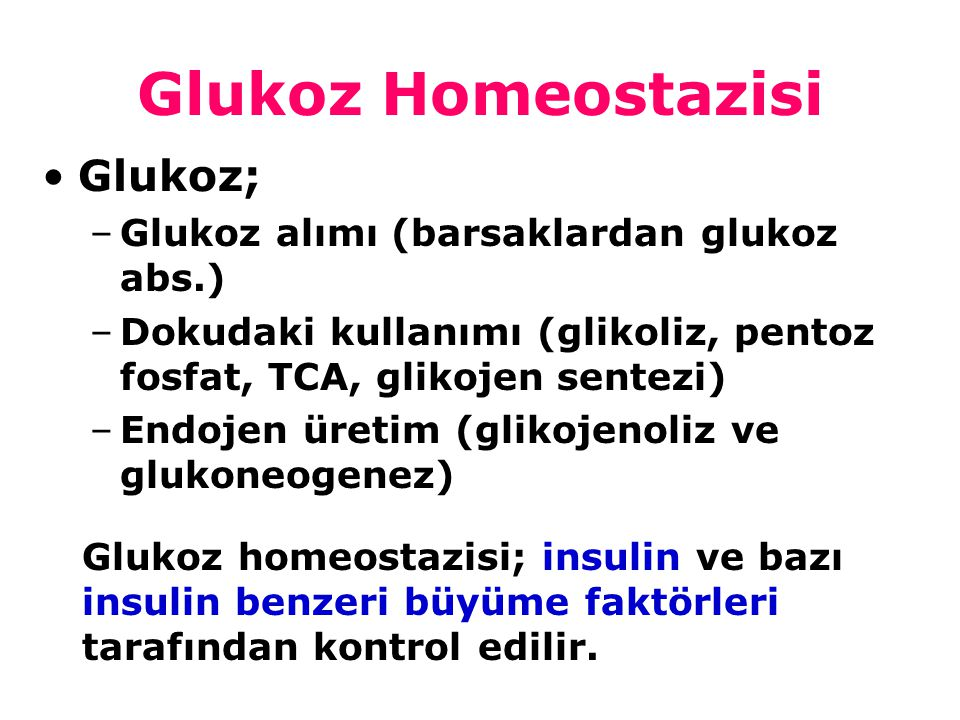 123456789 Hiperglisemik etki Hipoglisemik etki İnsülin Glukagon, epinefrin, kortizol, GH Plazma glukozu azalır Plazma glukozu artar İnsulinin hedef dokuları : K.C, Kas, Yağ dokusu