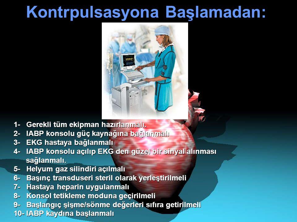 Kontrpulsasyona Başlamadan: Kontrpulsasyona Başlamadan: 1- Gerekli tüm ekipman hazırlanmalı. 2- IABP konsolu güç kaynağına bağlanmalı 3- EKG hastaya b