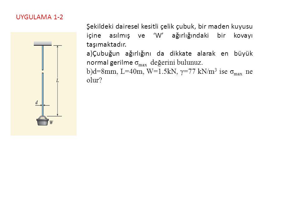 UYGULAMA 1-3 Şekilde P = 620 kN'luk eksenel basınç kuvvetine maruz kalan L=1.2 m, dış çapı d 2 =150 mm, iç çapı d 1 =110 mm olan çelik borunun elastiklik modülü E=200 GPa, Poisson oranı ν = 0.3 olarak verilmiştir.