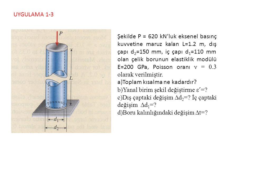 UYGULAMA 1-3 Şekilde P = 620 kN'luk eksenel basınç kuvvetine maruz kalan L=1.2 m, dış çapı d 2 =150 mm, iç çapı d 1 =110 mm olan çelik borunun elastik