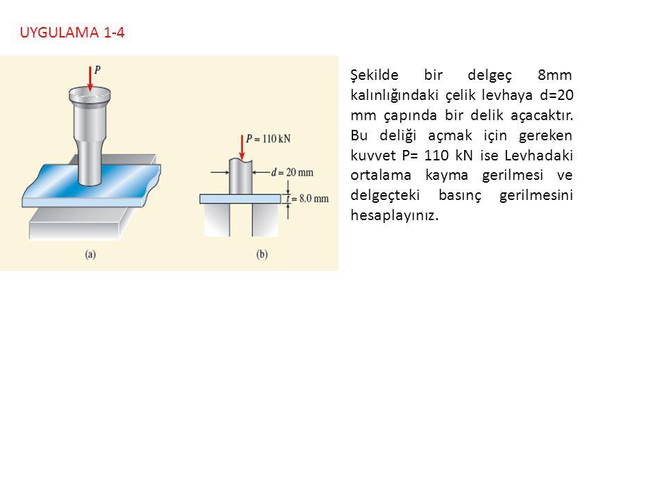 UYGULAMA 1-4 Şekilde bir delgeç 8mm kalınlığındaki çelik levhaya d=20 mm çapında bir delik açacaktır. Bu deliği açmak için gereken kuvvet P= 110 kN is