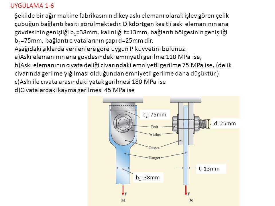 38 mm 13 mm 75mm 25 mm 110 MPa 75 MPa 180 MPa 45 MPa Şekilde bir ağır makine fabrikasının dikey askı elemanı olarak işlev gören çelik çubuğun bağlantı