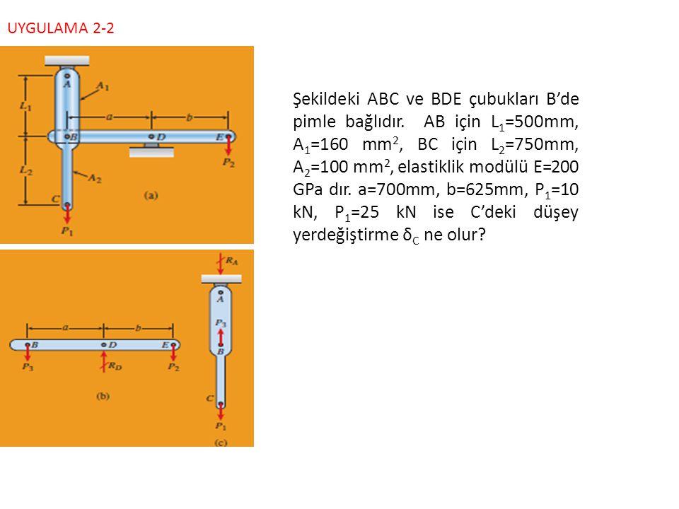 Şekildeki ABC ve BDE çubukları B'de pimle bağlıdır. AB için L 1 =500mm, A 1 =160 mm 2, BC için L 2 =750mm, A 2 =100 mm 2, elastiklik modülü E=200 GPa