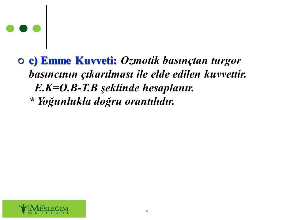 ○ c) Emme Kuvveti: Ozmotik basınçtan turgor basıncının çıkarılması ile elde edilen kuvvettir. E.K=O.B-T.B şeklinde hesaplanır. * Yoğunlukla doğru oran