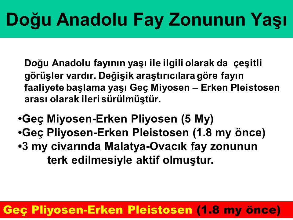 Doğu Anadolu Fay Zonunun Yaşı Doğu Anadolu fayının yaşı ile ilgili olarak da çeşitli görüşler vardır. Değişik araştırıcılara göre fayın faaliyete başl