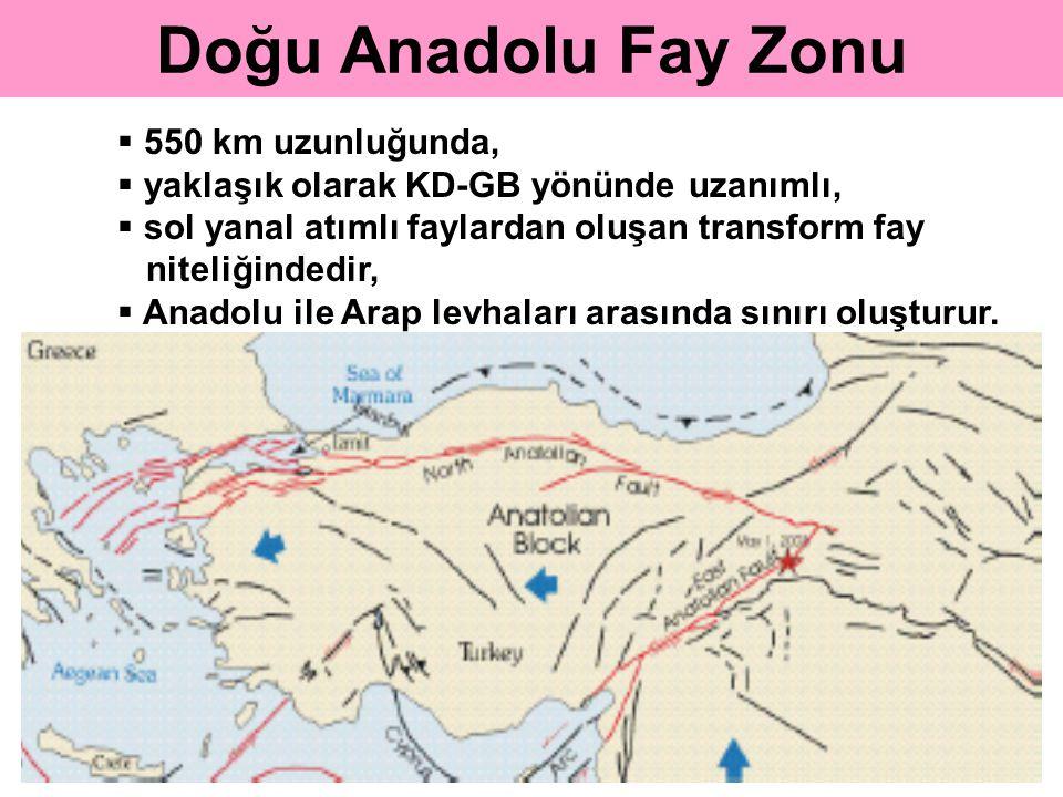 Doğu Anadolu Fay Zonu  550 km uzunluğunda,  yaklaşık olarak KD-GB yönünde uzanımlı,  sol yanal atımlı faylardan oluşan transform fay niteliğindedir,  Anadolu ile Arap levhaları arasında sınırı oluşturur.